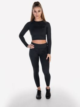 XXL Sportswear Ribbed Crop Top & Legging - Anthracite