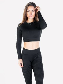 Ribbed Crop Top & Legging - Anthracite