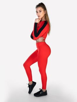 XXL Sportswear Ribbed Crop Top & Legging - Fiery Red