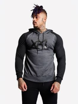 XXL Sportswear Sweater Hoodie Bigger is Better - Black/Grey
