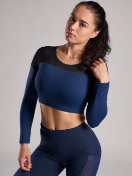 XXL Sportswear Long Sleeve Crop Top - Dark Blue