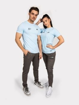 Malelions // XXL Sportswear T-shirt - Antra / Light Blue