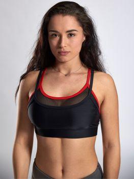 XXL Sportswear Mesh Strap Bra Black-Red